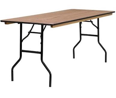שולחן מתקפל מלבן משטח עץ קל לנשיאה